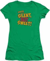 Farts Candy juniors t-shirt Silent But Sweet kelly green