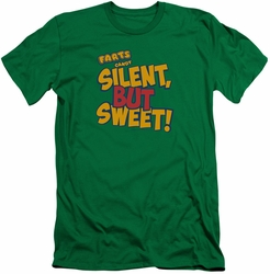 Farts Candy slim-fit t-shirt Silent But Sweet mens kelly green