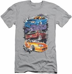 Fast & Furious slim-fit t-shirt Smokin Street Cars mens silver