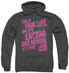 Fight Club pull-over hoodie Life Ending adult charcoal
