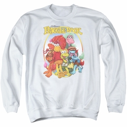 Fraggle Rock adult crewneck sweatshirt Group Hug white