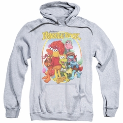 Fraggle Rock pull-over hoodie Group Hug adult athletic heather