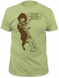 Frank Zappa kill your mama fitted jersey tee heather green
