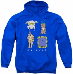 Friends pull-over hoodie Sybmols adult royal blue