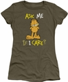 Garfield juniors t-shirt Ask Me If I Care military green