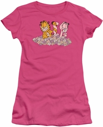 Garfield juniors t-shirt Chicks Dig Flowers hot pink