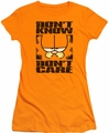 Garfield juniors t-shirt Don't Know Don't Care orange
