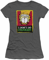 Garfield juniors t-shirt I Don't Do Ordinary charcoal