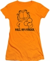 Garfield juniors t-shirt Pull My Finger orange