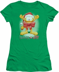 Garfield juniors t-shirt Unwrap The Joy! kelly green