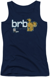 Garfield juniors tank top Be Right Back navy