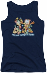 Garfield juniors tank top Bright Holidays navy