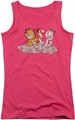 Garfield juniors tank top Chicks Dig Flowers hot pink