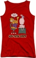 Garfield juniors tank top Compute This red