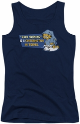 Garfield juniors tank top Contradicition In Terms navy