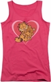 Garfield juniors tank top Cute N'Cuddly hot pink