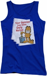 Garfield juniors tank top Duly Noted royal