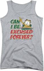 Garfield juniors tank top Excused Forever athletic heather