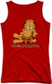 Garfield juniors tank top Happy Face red