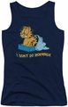 Garfield juniors tank top I Don't Do Mornings navy