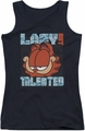 Garfield juniors tank top Lazy But Talented black
