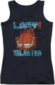 Garfield juniors tank top Lazy But Talented Distressed black