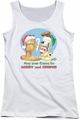 Garfield juniors tank top Merry And Striped white