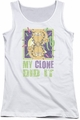 Garfield juniors tank top My Clone Did It white