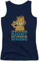 Garfield juniors tank top Never Wrong navy
