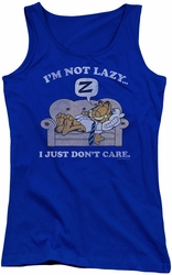 Garfield juniors tank top Not Lazy royal
