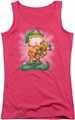 Garfield juniors tank top Number 1 Elf hot pink