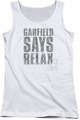 Garfield juniors tank top Relax white