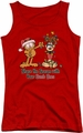 Garfield juniors tank top Share The Season red