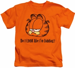Garfield kids t-shirt Do I Look Like I'm Kidding orange