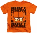 Garfield kids t-shirt Don't Know Don't Care orange
