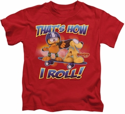 Garfield kids t-shirt How I Roll red