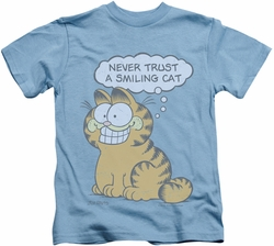 Garfield kids t-shirt Smiling Cat carolina blue