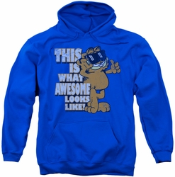 Garfield pull-over hoodie Awesome adult royal blue