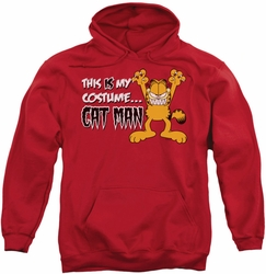 Garfield pull-over hoodie Cat Man adult red