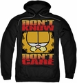 Garfield pull-over hoodie Don't Know Don't Care adult black