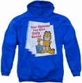 Garfield pull-over hoodie Duly Noted adult royal blue