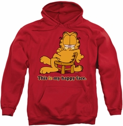 Garfield pull-over hoodie Happy Face adult red