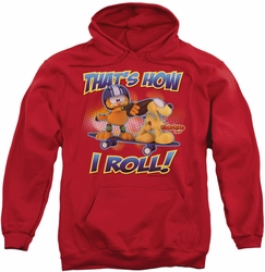 Garfield pull-over hoodie How I Roll adult red