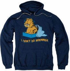 Garfield pull-over hoodie I Don't Do Mornings adult navy