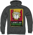 Garfield pull-over hoodie I Don't Do Ordinary adult charcoal