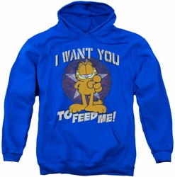 Garfield pull-over hoodie I Want You adult royal blue
