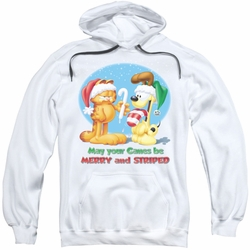 Garfield pull-over hoodie Merry And Striped adult white