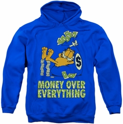 Garfield pull-over hoodie Money Is Everything adult royal blue