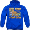 Garfield pull-over hoodie Nap Time adult royal blue