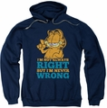 Garfield pull-over hoodie Never Wrong adult navy